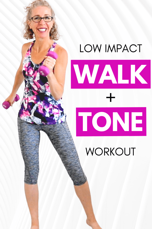 We're getting in a super fun and sweaty WALK + TONE workout today!  Grab your lightest dumbbells for this great cardio toning routine for women over 50.