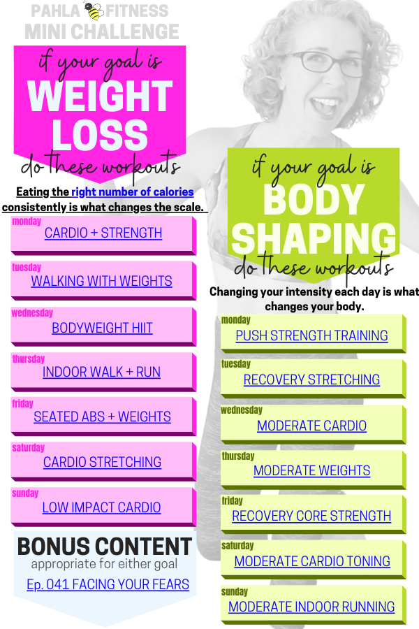 It's another great week to follow along with the Mini Challenge - your FREE weekly workout schedule, designed for women over 50.