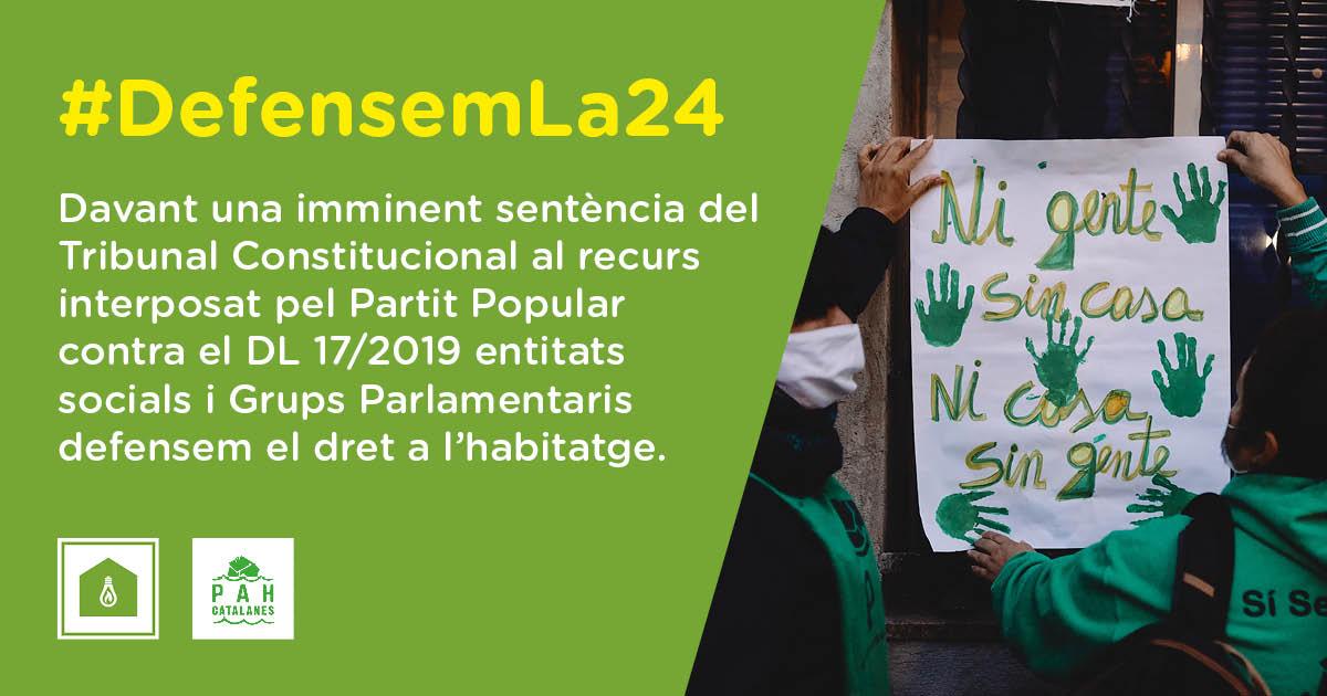 ¡Defendemos la Ley 24/2015! Exigimos al PSOE que la blinde urgentemente con un acuerdo bilateral Estado-Generalitat, antes de que el Tribunal Constitucional emita sentencia