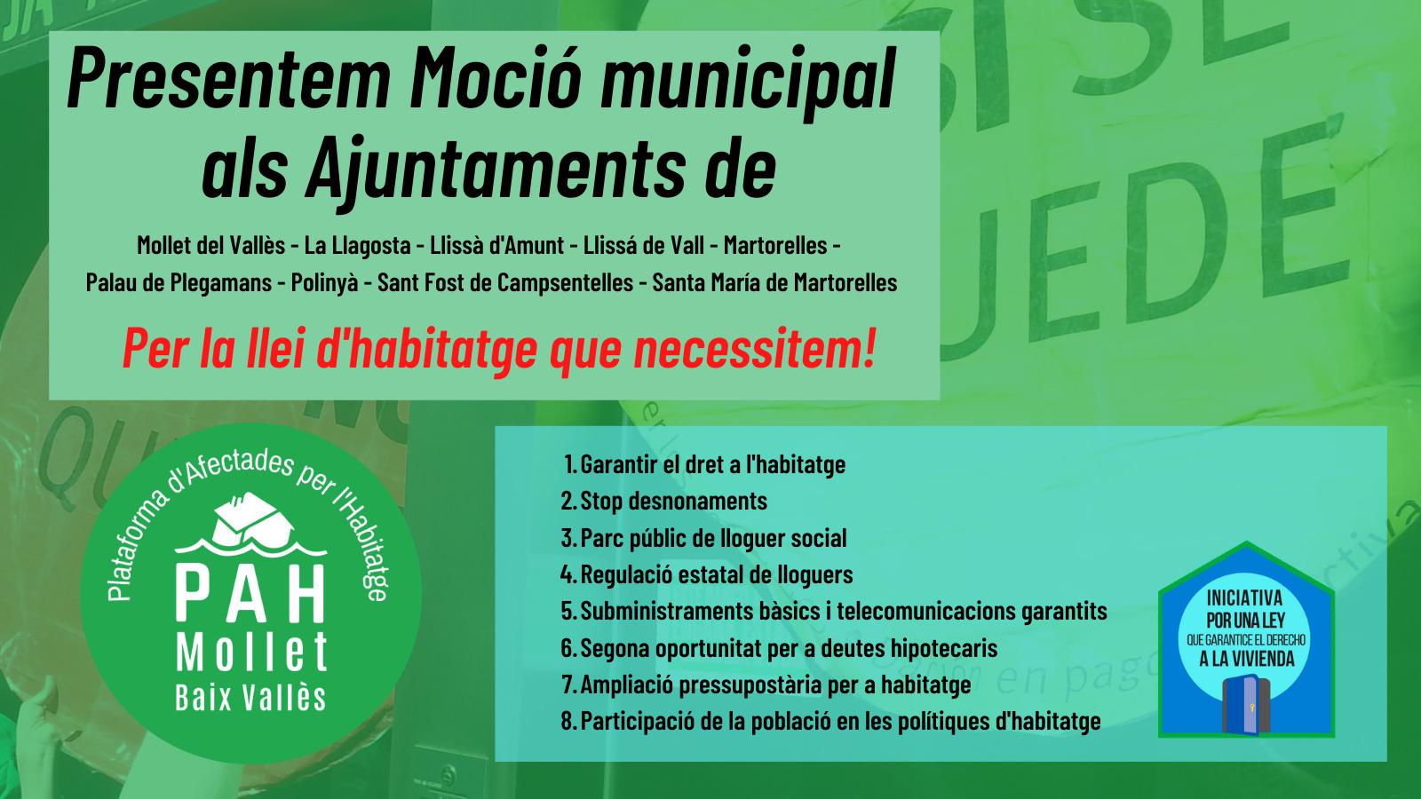 Moción a los Ayuntamientos del Baix Vallès en apoyo a las medidas de la PAH para la futura Ley Vivienda estatal