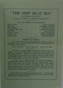 "St James Players ""The Deep Blue Sea"" programme page 3 1962"