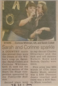 2001 Stars On Stage Sarah Collett and Corinne Whitman both 13yrs country music duo winners of the over -12 section