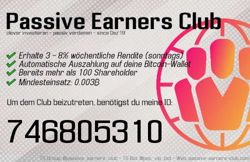 Monatliche Auszahlung mit dem Passive Earners Club