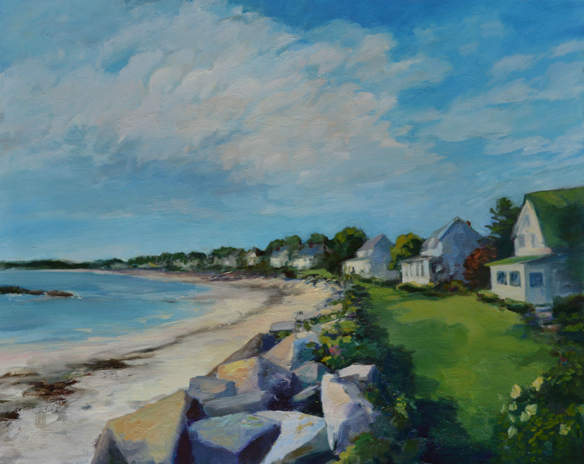 """Some of these old Maine beach homes have been in families for generations.  They are emblematic for me of simpler times, when kids could play all day together with only their imaginations to entertain them, and when parents could get away and be only connected to their families. 16"""" x 20"""", Oil on board"""