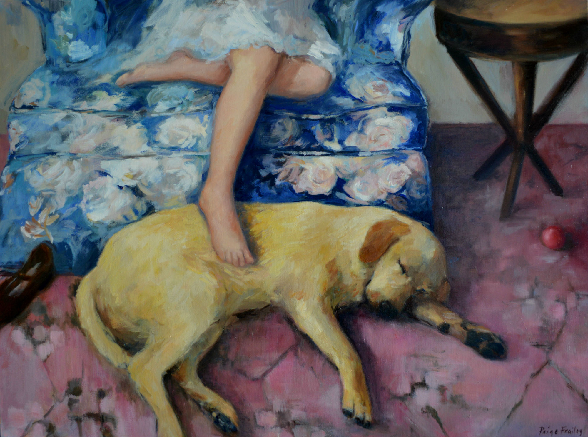"""My daughter named this painting and I thought it was perfect.    What could be better than to curl up on a Sunday afternoon in a comfy chair with a good book and your faithful friend to warm your feet?   30"""" x 40"""", Oil on Canvas"""