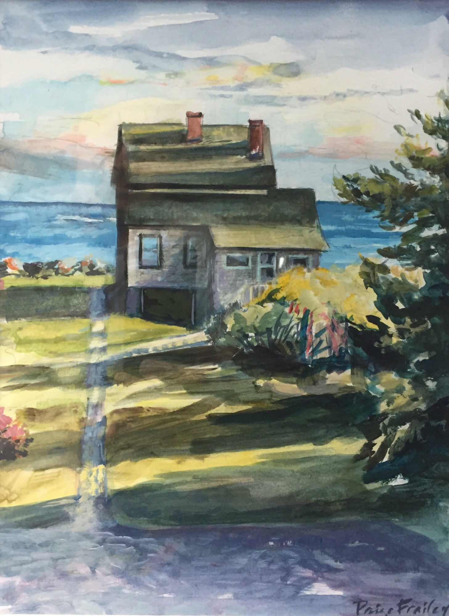 Beach house in Maine. Water Color