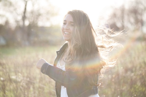 sunlit high school girl