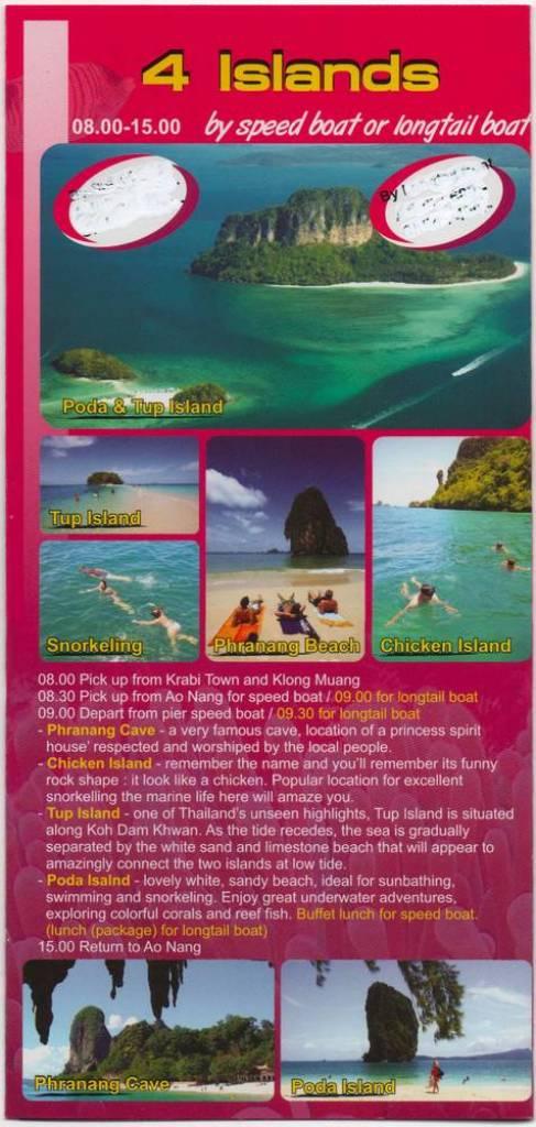 Программа экскурсии 4 острова Ао Нанг