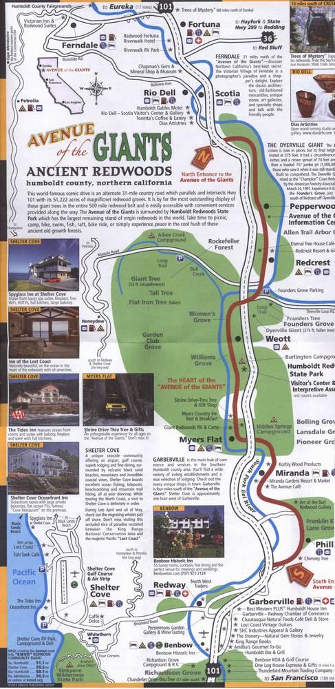 карта авеню гигантов в парке гумбольт