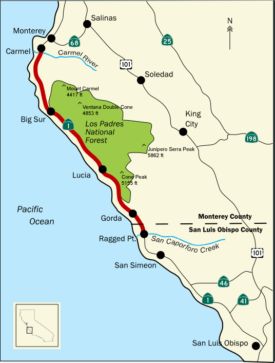 Карта Биг Сюр