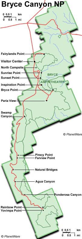 Карта нацпарка Брайс (кликабельна!)