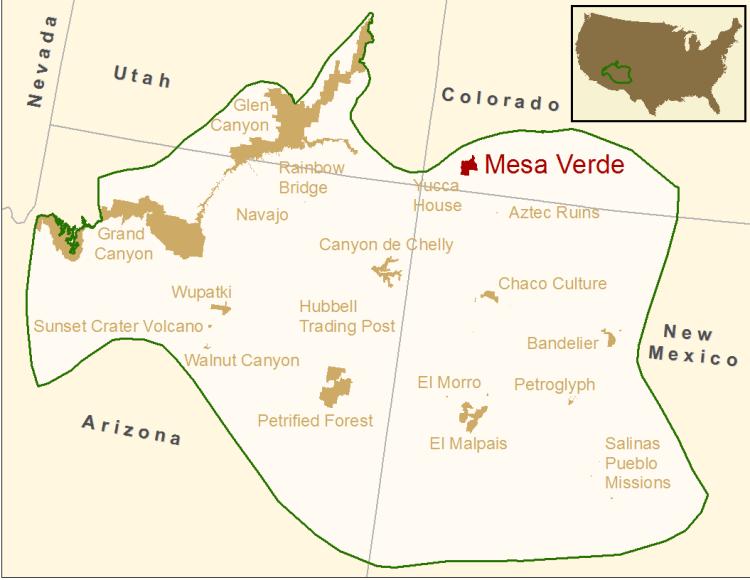 Меса-Верде на карте