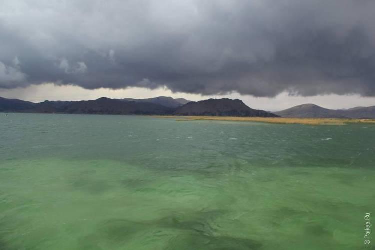 зеленое озеро титикака