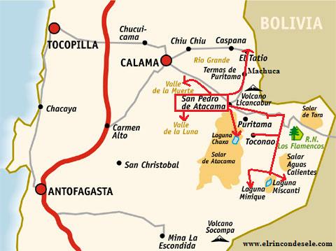 Карта местности вокруг Сан-Педро-де-Атакама
