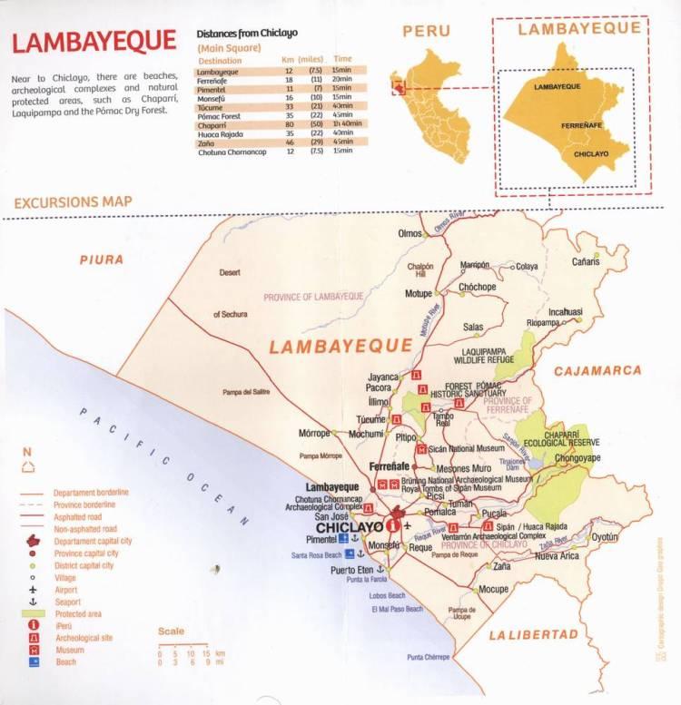 Карта провинции Ламбаейке со всеми архелогическими достопримечательностями региона