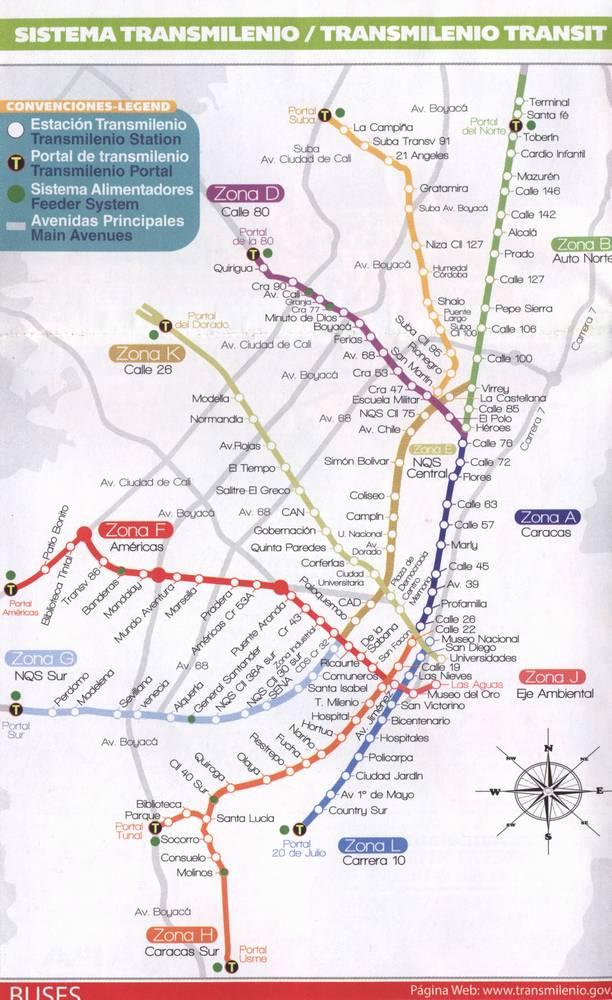 Транспорт в Боготе, Карта маршрутов Трансмиленио