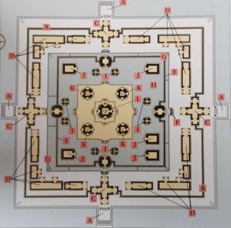 Схема храма Восточный Мебон в Камбодже