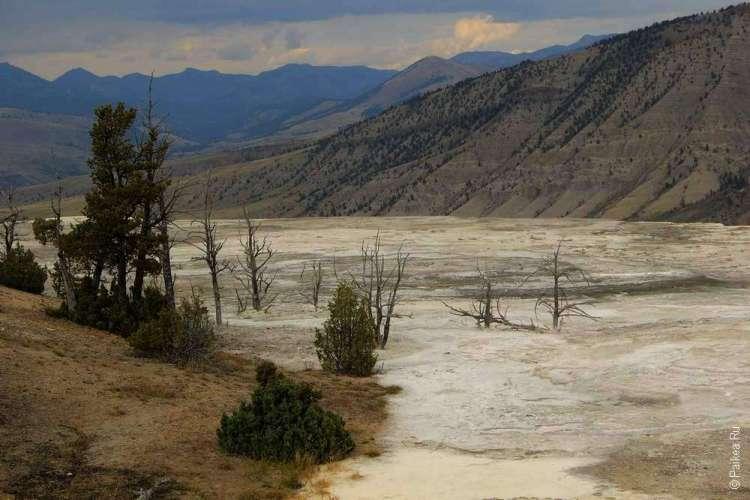 Геотермальные источники Мамонт Йеллоустоун США 04