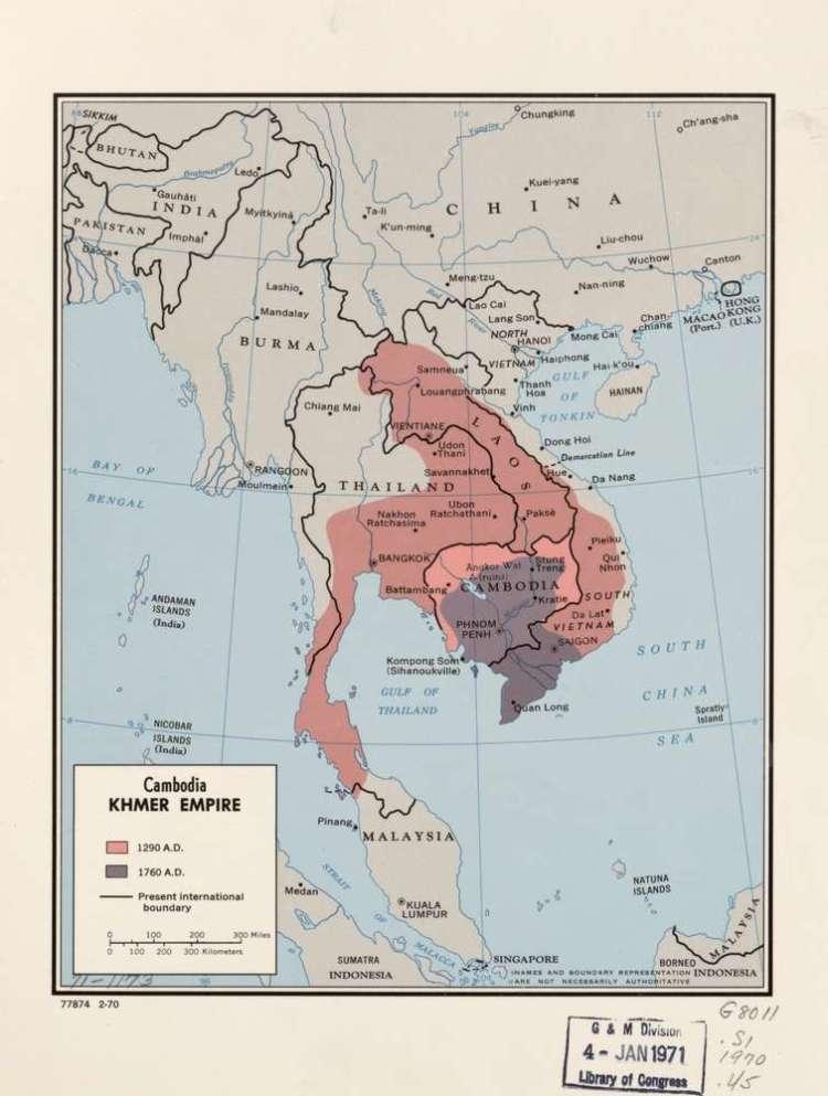 Карта Кхмерской империи в разные годы