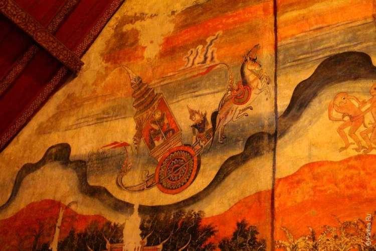 Небесная колесница на фреске в храме
