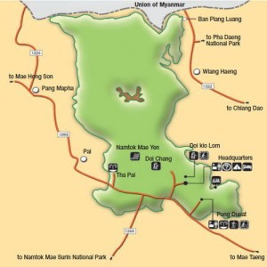 Карта национального парка Хуай Нам Данг Таиланд