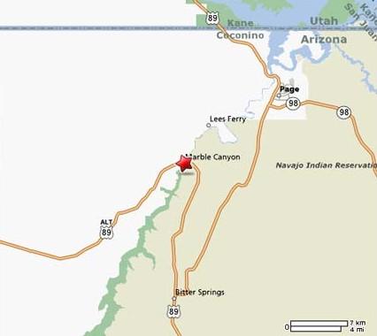 Схема дорог к Мраморному каньону