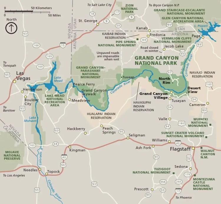 Парк Гранд-Каньон на карте