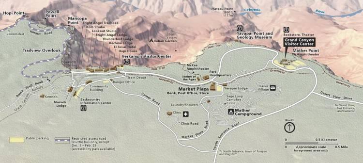 Схема Южного рима Гранд-Каньона