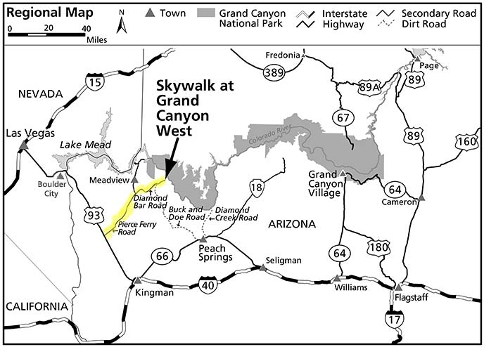 Где находится Skywalk в Гранд-Каньоне