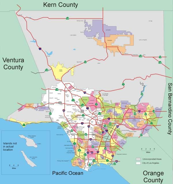Лос-Анджелес на карте