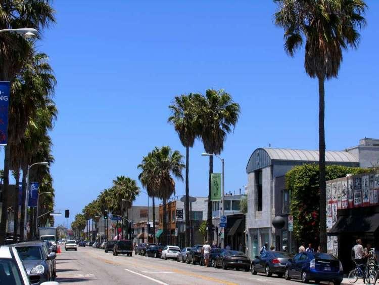 Живописная улица в Лос-Анджелесе, район Венис