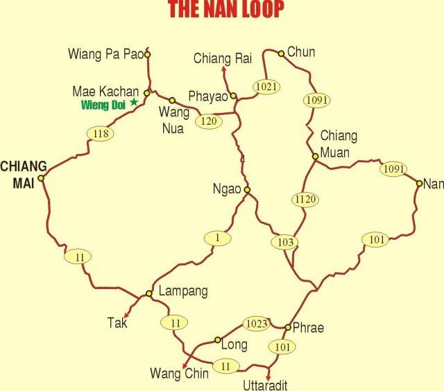 Карта маршрута по Северному Таиланду