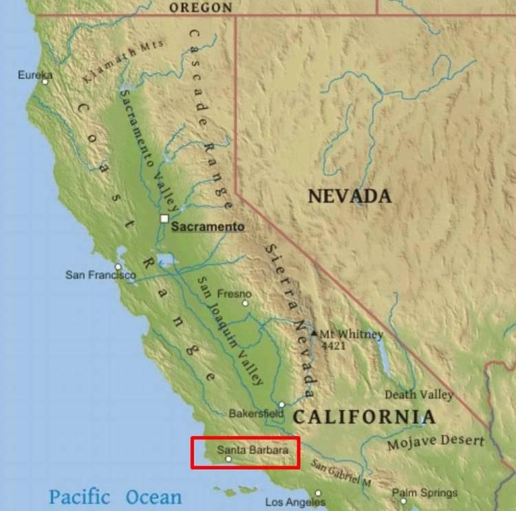 Санта-Барбара на карте Калифорнии