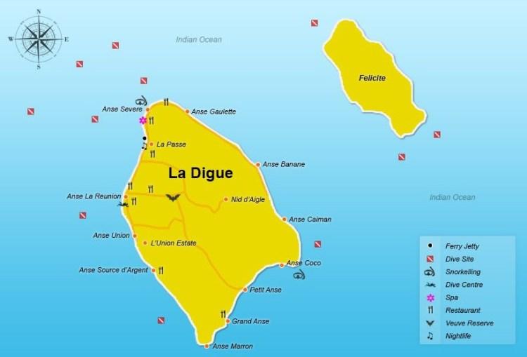 Карта острова Ла Диг Сейшелы