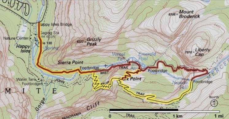 карта мист трейл в йосемите
