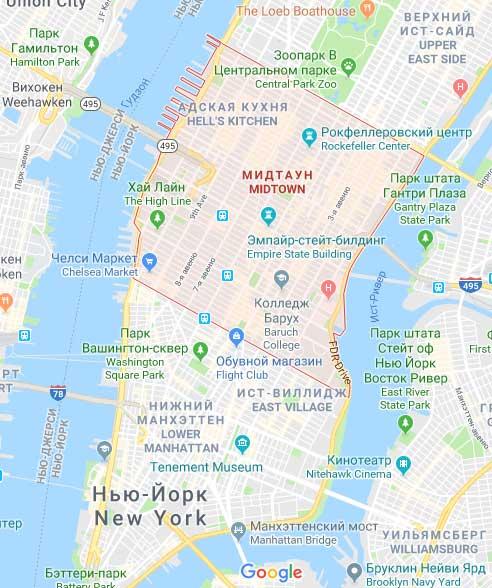 Отели на Манхэттене в центре