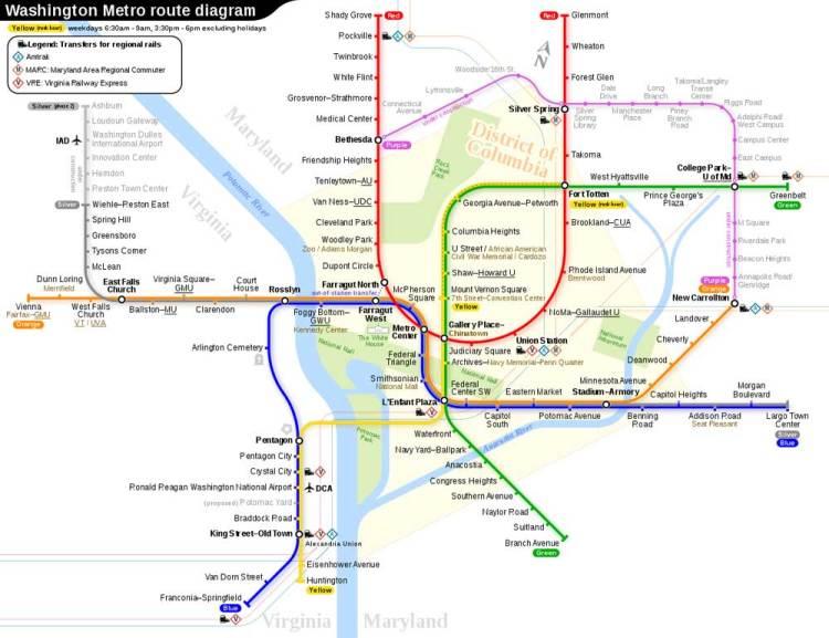 Схема метро в Вашингтоне