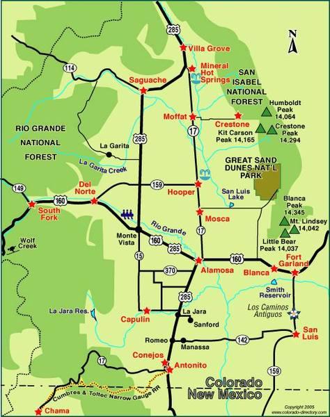 Карта долины Сан-Луис-Вэлли