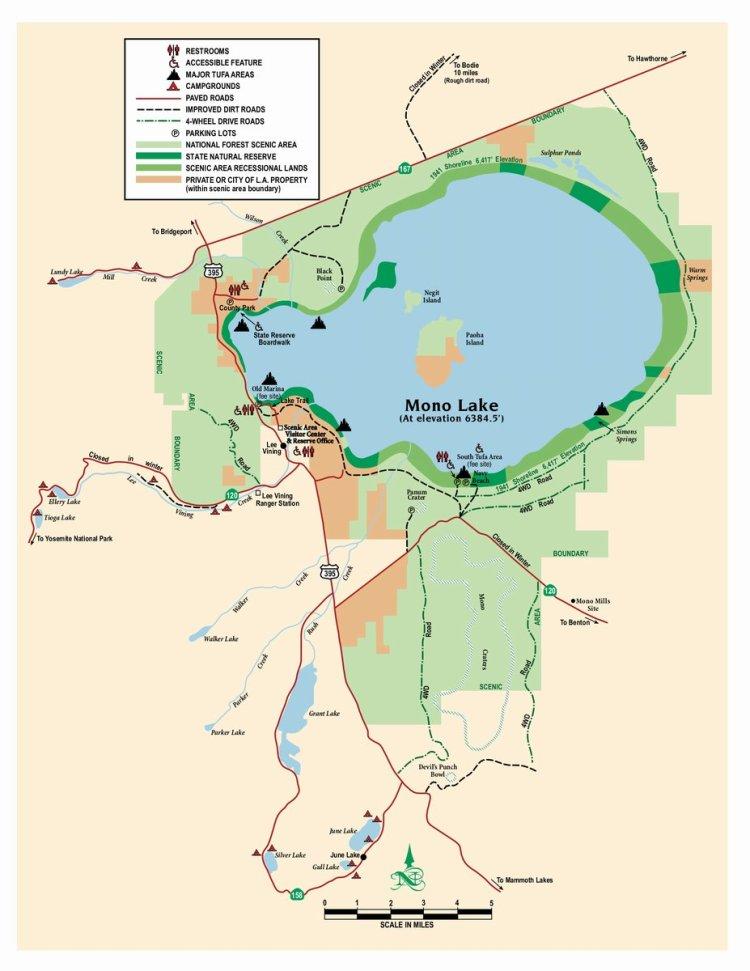Карта озера Моно