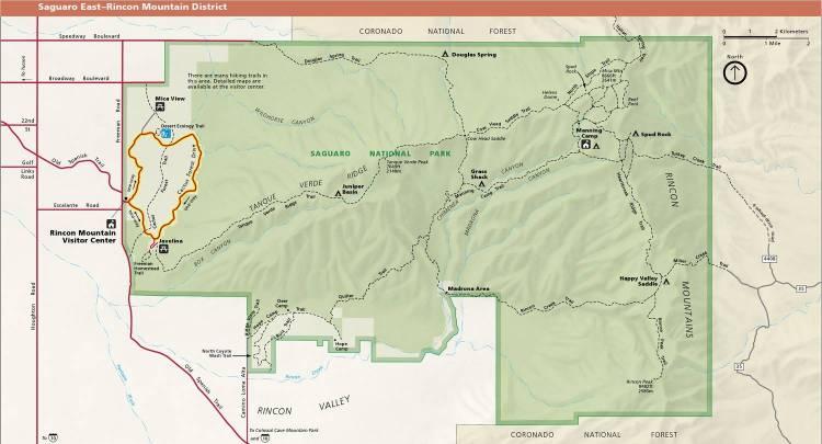 Национальный парк Сагуаро (Аризона, США) - карта восточной части