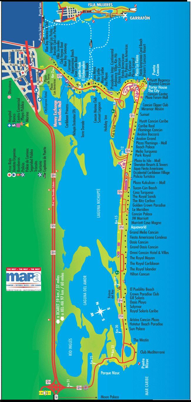Карта отелей Канкуна