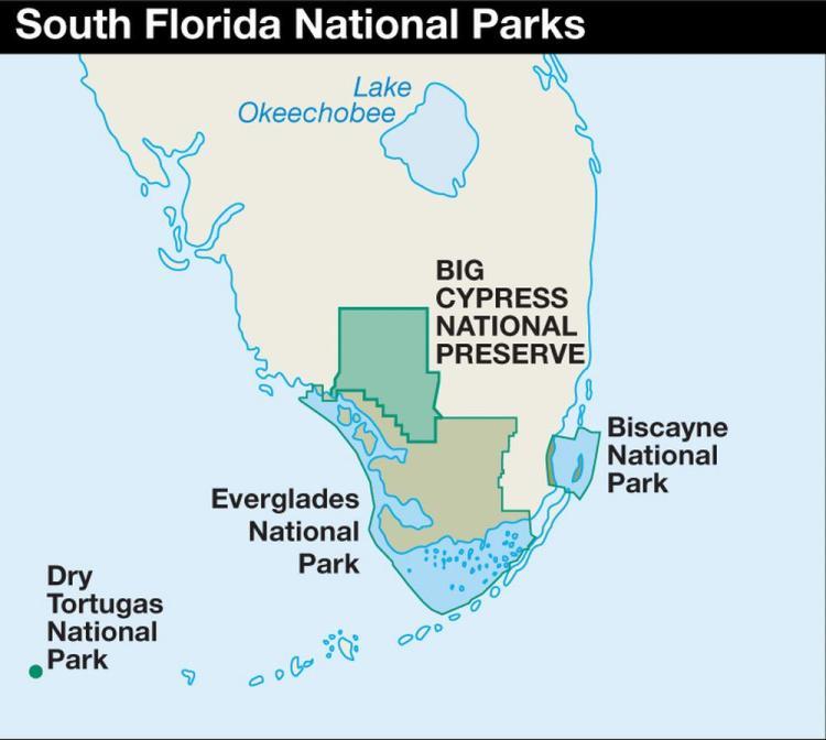национальные парки флориды на карте