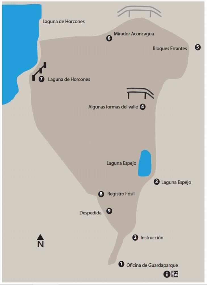 схема парка аконкагуа - horcones map