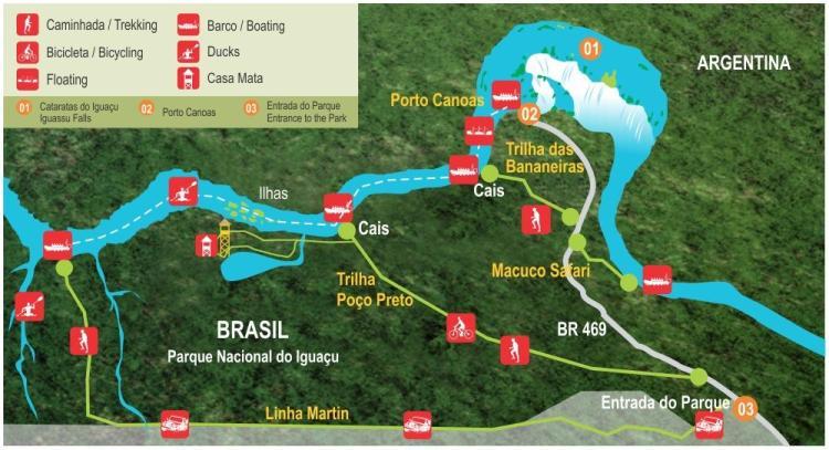 схема парка игуасу бразилия