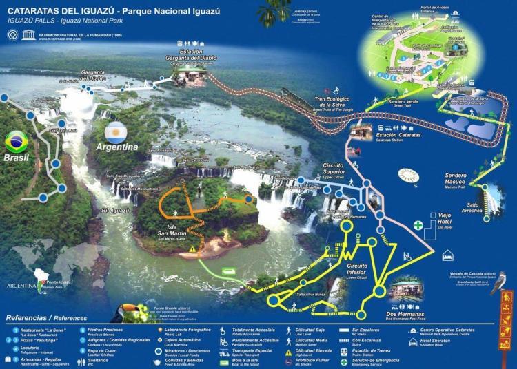 схема национального парка игуасу - бразилия и аргентина