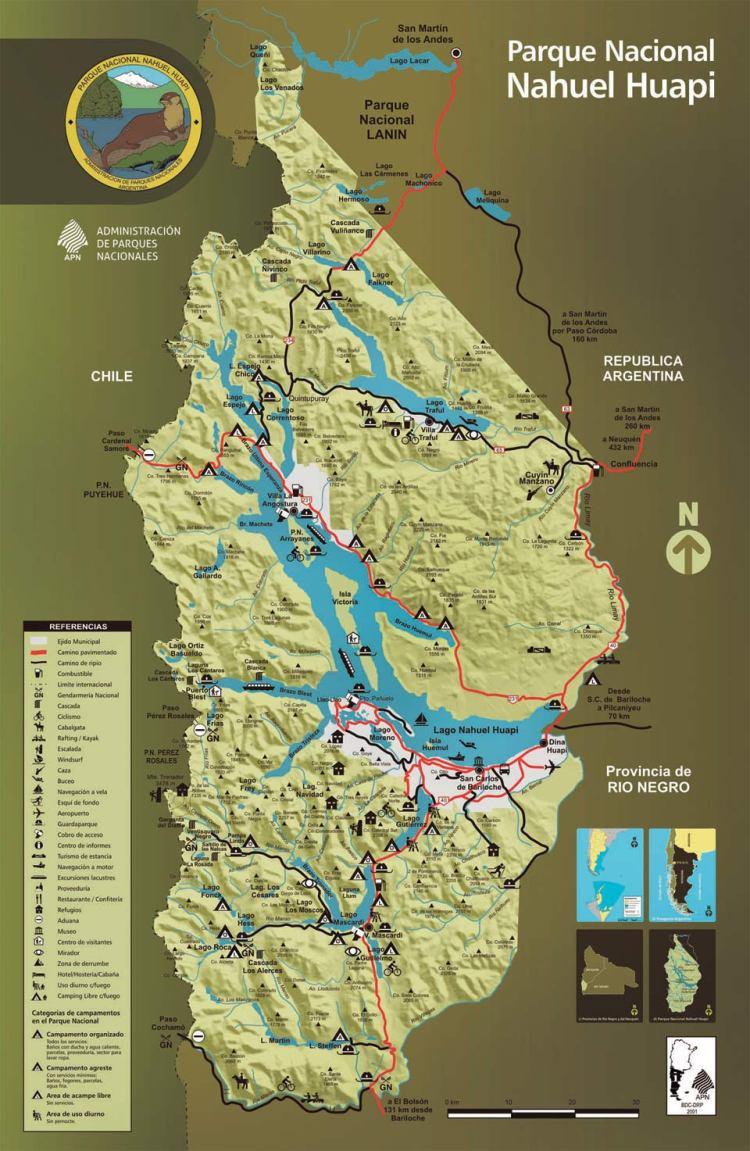 карта парка науэль уапи, барилоче, аргентина