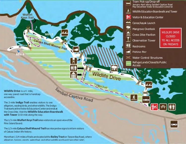 карта ding darling national wildlife refuge