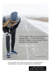 Joint pain can occur anytime throughout the year, but in the cold and wet months of the winter you may find it harder to cope with.