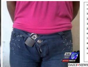 Mexicana é obrigada a usar um cadeado nas calças por 12 anos