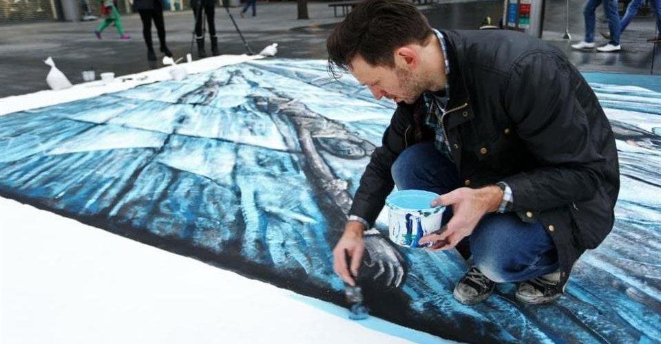 Enorme pintura 3D em calçada promove Game of Thrones